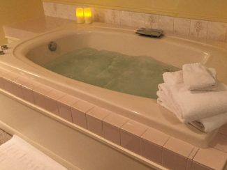 Whirlpool tub with water swirling.