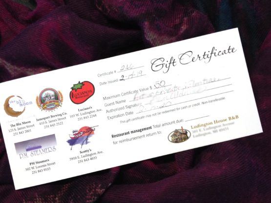 gift certificate to Ludington Restaurants