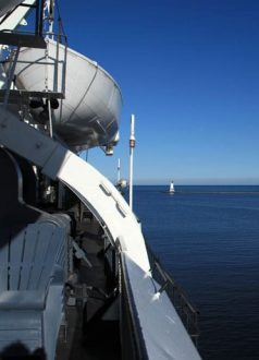 A side view off of the SS Badger in the clear daylight